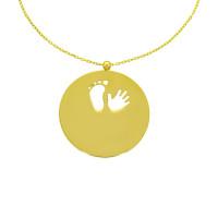 585er Collierkette mit Gravurplatte Rund Platte Hand und Fuss  Gold Kette  -Ø25