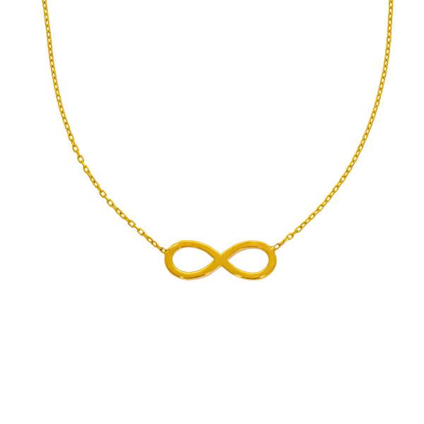 585er Gold Kette mit Infinity Anhänger Unendlichkeit 45cm inkl. Etui Collier Halskette