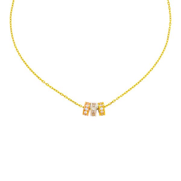 585er Gold Kette mit Anhänger 3 Kreise Zirkonia 45cm inkl. Etui Halskette Collier