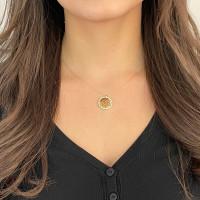 585er Gold Kette mit Lebensblume Anhänger Zirkonia 45cm inkl. Etui Halskette Collier Blume des Lebens -Ø22