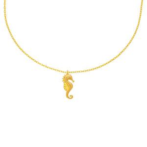 585er Gold Kette mit Seepferdchen Anhänger Zirkonia...