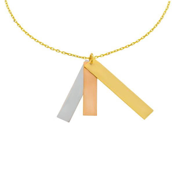 585er Gold Collierkette mit 3 senkrechten Gravurplatten Tricolor 45cm inkl. Etui