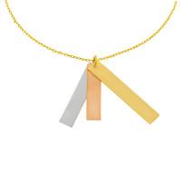 585er Gold Collierkette mit 3 senkrechten Gravurplatten Tricolor 42cm inkl. Etui