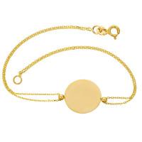 Damen Armband 585er Gelbgold Plättchen Kreis Schmuck Armkette Goldarmband