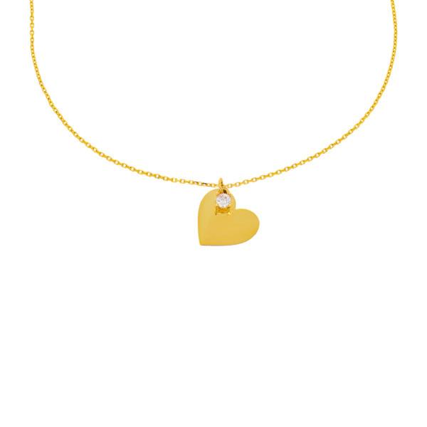 585er Gelbgold Kette mit Herz Anhänger Zirkonia Gravur Halskette Collier