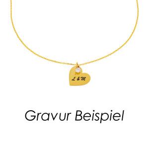 585er Gelbgold Kette mit Herz Anhänger Zirkonia...