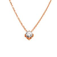 585er Gold Collier mit Diamant 0,15ct. Anhänger Kette Solitär Brillant 4er Krappe