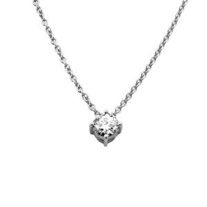 585er Gold Collier mit Diamant 0,25ct. Anhänger Kette Solitär Brillant 4er Krappe