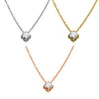 585er Gold Collier mit Diamant 0,35ct. Anhänger Kette Solitär Brillant 4er Krappe