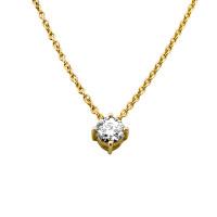 585er Gold Collier mit Diamant 0,50ct. Anhänger Kette Solitär Brillant 4er Krappe