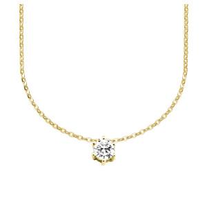 585er Gold Collier mit Diamant 0,15ct. Anhänger Kette Solitär Brillant 6er Krappe