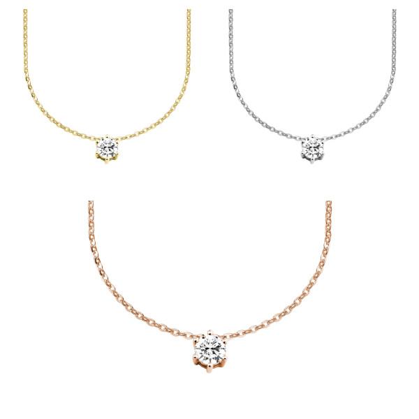 585er Gold Collier mit Diamant 0,35ct. Anhänger Kette Solitär Brillant 6er Krappe