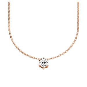585er Gold Collier mit Diamant 0,50ct. Anhänger Kette Solitär Brillant 6er Krappe