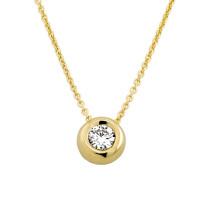 585er Gold Collier mit Diamant 0,05ct. Anhänger Kette Solitär Brillant Zargenfassung