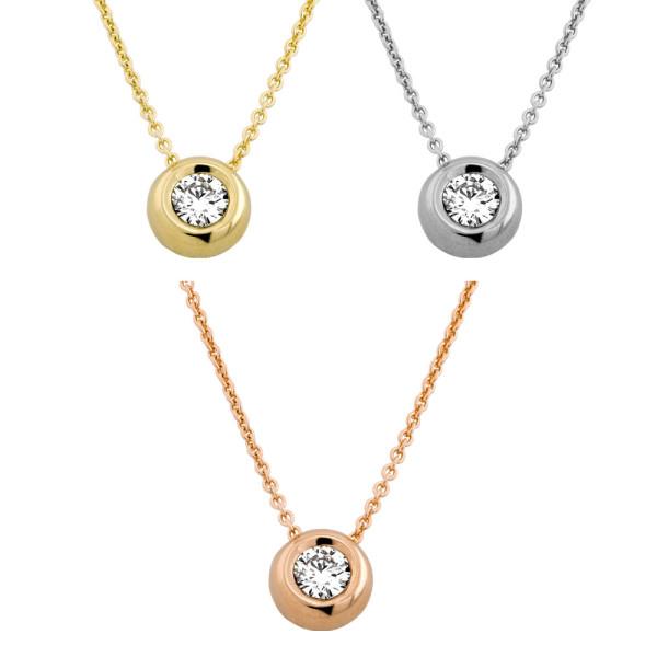 585er Gold Collier mit Diamant 0,10ct. Anhänger Kette Solitär Brillant Zargenfassung