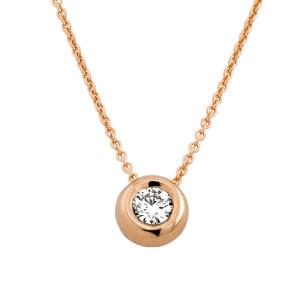 585er Gold Collier mit Diamant 0,15ct. Anhänger Kette Solitär Brillant Zargenfassung