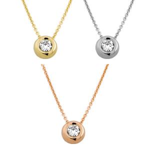 585er Gold Collier mit Diamant 0,35ct. Anhänger...