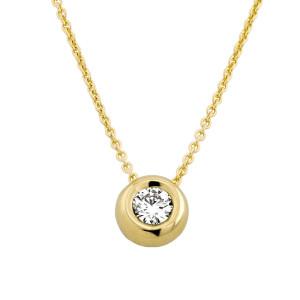585er Gold Collier mit Diamant 0,35ct. Anhänger Kette Solitär Brillant Zargenfassung