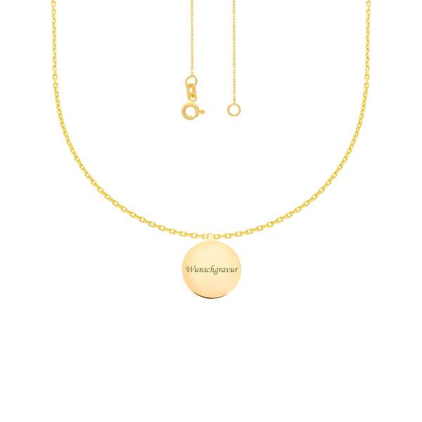 585er Gold Collierkette mit Gravurplatte Rund Platte Gold Kette Anhänger 17Ø