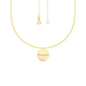 585er Gold Kette mit Kreis Anhänger 17Ø Text Gravur Namenskette Collier Gravurplatte