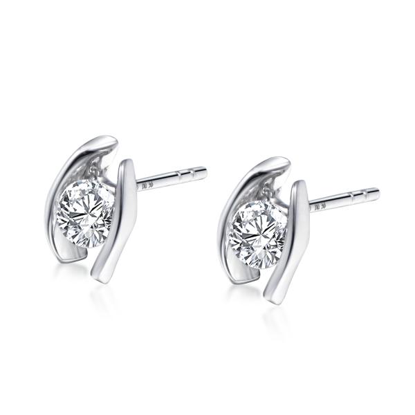 585er Weißgold Diamanten Ohrstecker Spannfassung Ohrringe Brilliant Solitaire