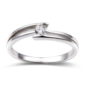 585er Gold Verlobungsring Spannring ca. 0,05 ct. Diamant...