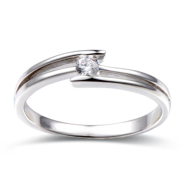 585er Gold Verlobungsring Spannring ca. 0,10 ct. Diamant Gr. 48 Solitär Antragsring