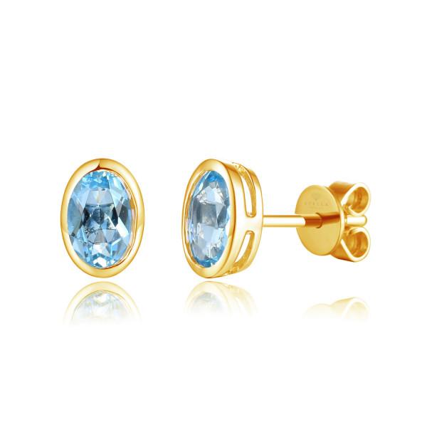 585er Gelbgold Ohrstecker Blautopas Zargenfassung 1,92ct. Ohrringe Solitaire 14K