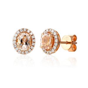 585er Rotgold Ohrstecker Morganit 0,59ct Diamanten zus....