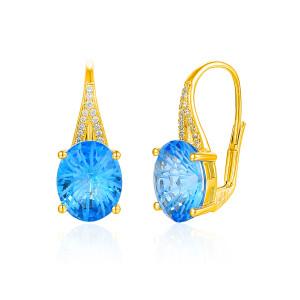 Damen 585er Gelbgold Ohrringe Blautopas Diamanten...