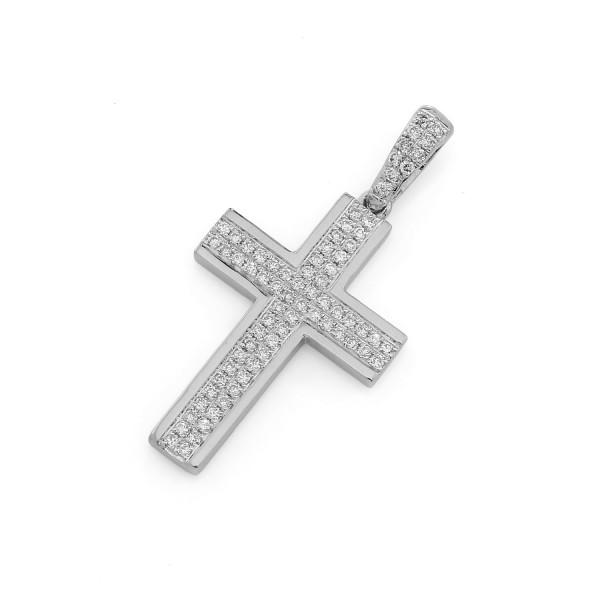 Damen 750er Weißgold Kreuz Anhänger mit Brillianten Goldnhänger Kreuzanhänger