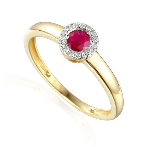585er Gelbgold Damenring mit Rubin 0,41ct. und Brillanten 0,09ct. Gr. 54 Edelstein Ring