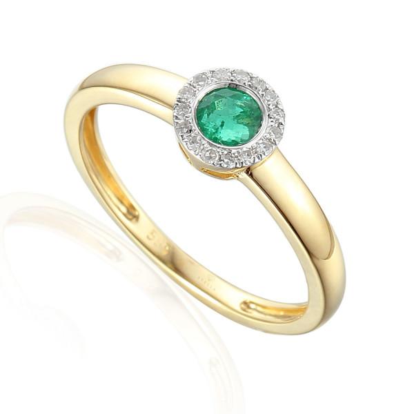 585er Gelbgold Damenring mit Smaragd 0,23ct. und Brillanten 0,09ct. Gr. 54 Edelstein Ring