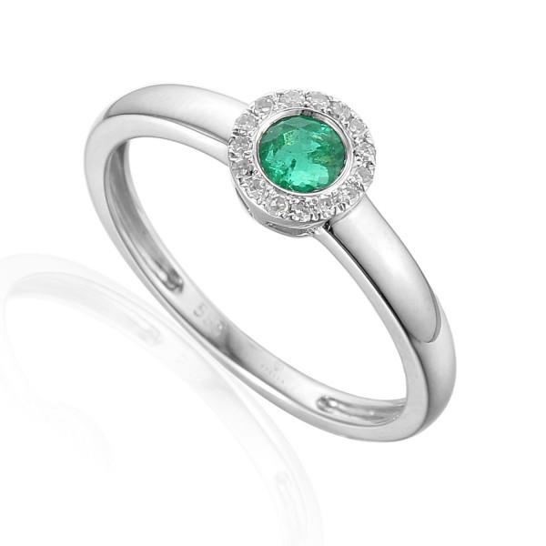 585er Weißgold Damenring mit Smaragd 0,23ct. und Brillanten 0,09ct. Gr. 54 Edelstein Ring