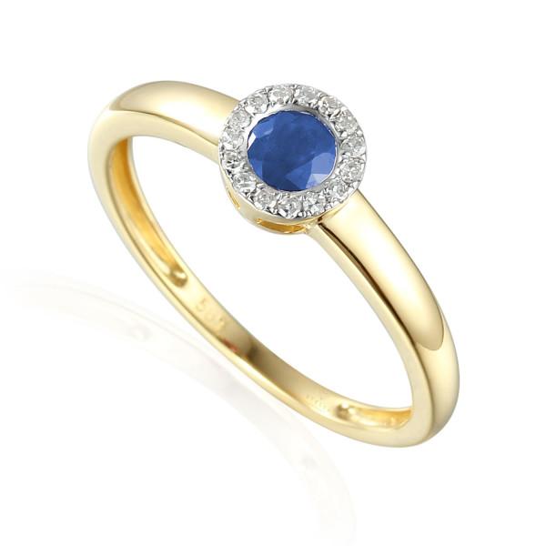 585er Gelbgold Damenring mit Saphir 0,34ct. und Brillanten 0,09ct. Gr. 54 Edelstein Ring