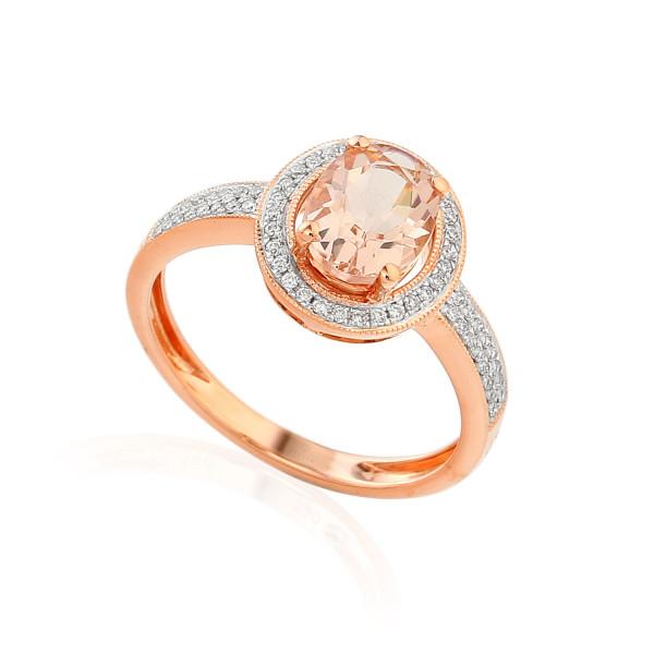 585er Rotgold Damenring mit Morganit 0,94ct. und Brillanten 0,15ct. Gr. 54 Edelstein Ring