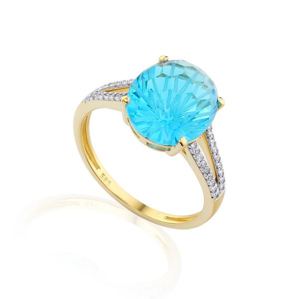 585er Gelbgold Damenring mit Blautopas 5,40ct. und Brillanten 0,16ct. Gr. 54 Edelstein Ring