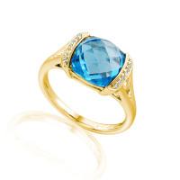585er Gelbgold Damenring mit Blautopas 5ct. und Brillanten 0,06ct. Gr. 54 Edelstein Ring