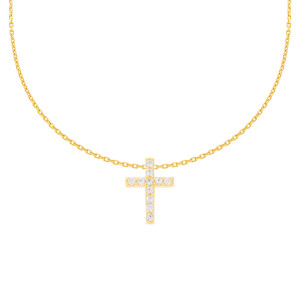 585er Gelbgold Kette mit Kreuz Anhänger Zirkonia...