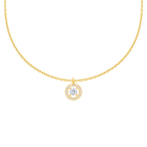 585er Gelbgold Kette mit Kreis Anhänger Zirkonia Halskette Collier 14K inkl Etui