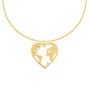 585er Gelbgold Kette Herz Weltkugel Anhänger...