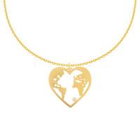 585er Gelbgold Kette Herz Weltkugel Anhänger Zirkonia Globus Halskette Collier