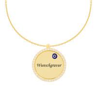 585er Gold Kette mit Kreis Anhänger Gravurplatte Glücksauge Nazar