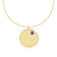 585er Gold Kette mit Kreis Anhänger Nazar Gravur Collier Gravurplatte Plättche