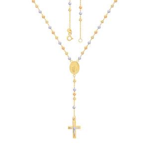 585er Gold Rosenkranz Tricolor Kette mit Kreuz...