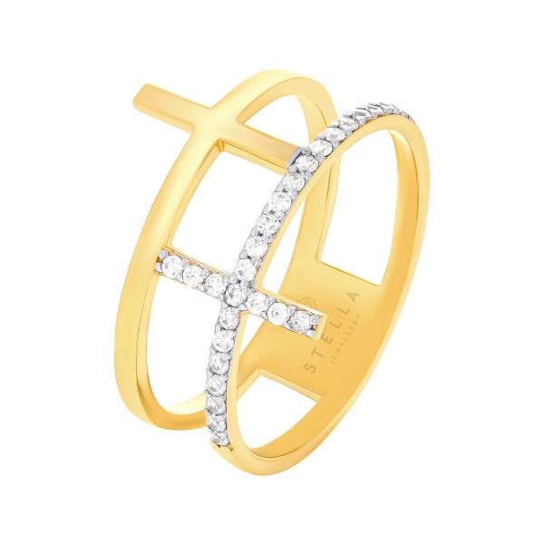 585er Gelbgold Damenring mit Kreuz und Zirkonia Gr. 54 Ring Goldring Model 3