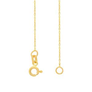 585er Gelbgold Kette mit Gravurplatte Anhänger Zirkonia Halskette Collier 14K inkl. Etui