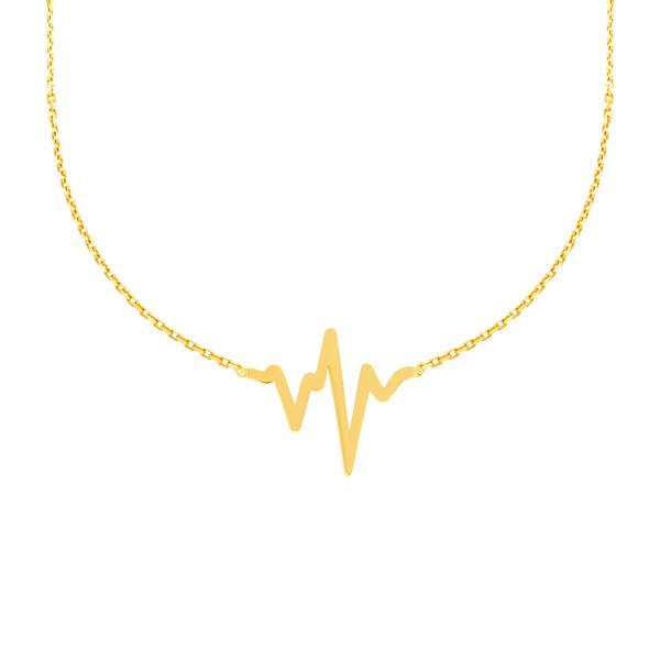 585er Gelbgold Kette mit Herzschlag Anhänger Halskette Lebenslinie Collier 14K inkl. Etui