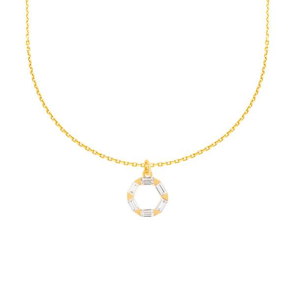 585er Gelbgold Kette mit Zwölfeck Anhänger Zirkonia Halskette Collier 14K inkl. Etui