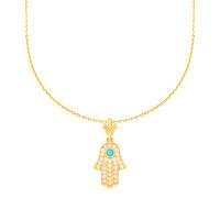 585er Gelbgold Kette mit Hamsa Fatimas Hand Anhänger Halskette Collier 14K inkl. Etui